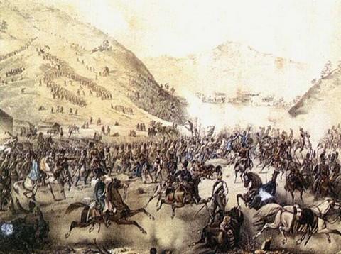 Pákozdi csatajelenet egykorú metszeten (forrás: Új Képes Történelem)