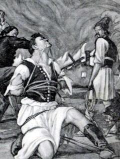 A román keretlegények kínzásai egykorú grafikán