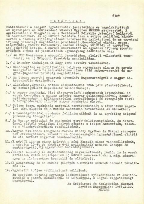 a Műszaki Egyetem nagygyűlésének határozata, 1956. október 22.