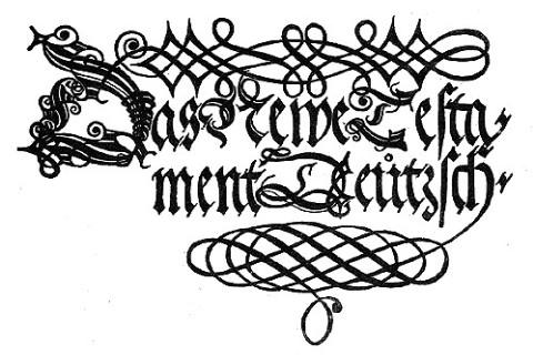 A Luther által fordított Új Testamentom 1534-ben megjelent első kiadásának címlapja