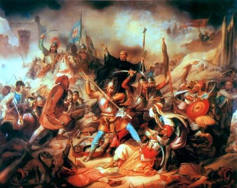 Kapisztrán János (középen, kereszttel a kezében) a nándorfehérvári csatában - ismeretlen mester munkája (forrás:wikipedia)