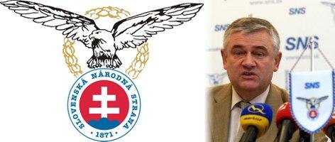 az SNS logója és elnöke, Ján Slota