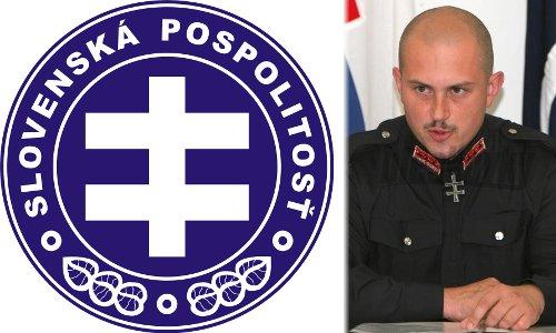 a Szlovák Testvériség logója és vezére, Marián Kotleba