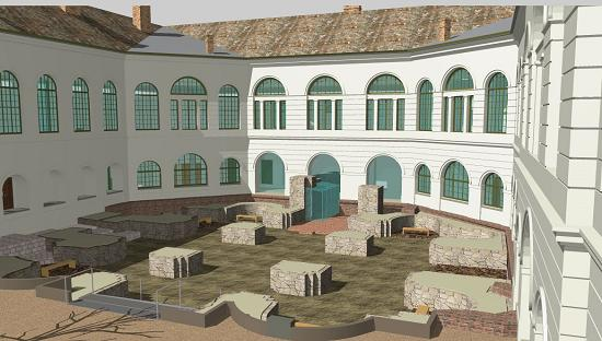 a szekszárdi vármegyeháza udvara (látványterv)