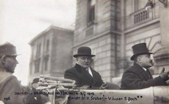 Vavro Šrobár teljhatalmú megbízott és Samuel Zoch zsupán Pozsonyban, 1919. február 4.
