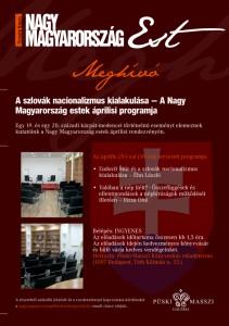 Nagy Magyarország-est áprilisi meghívó