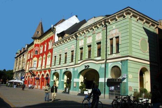 A lebontásra ítélt, korábban jelentősen átalakított Arany Bárány Szálloda (zöld színű épület). A Vojnics-palota (vörös épület) megmarad
