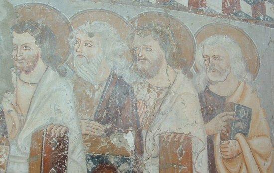 freskó a bögözi templom falán