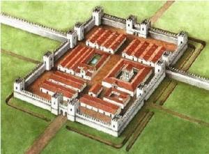Tipikus római castrum rekonstrukciós rajza