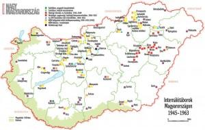 internálótáborok Magyarországon 1945-1963 (forrás: Nagy Magyarország 2010/5)