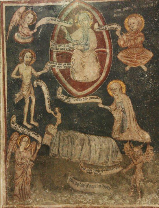 freskó a zselízi templom falán