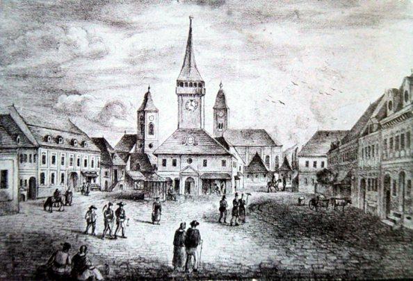 Abrudbánya piactere (1848 előtti állapot, rajz)