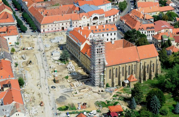 Keszthely főtere átépítés alatt