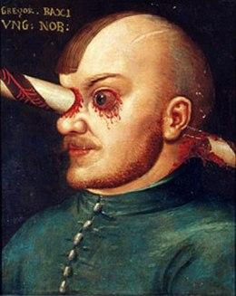 az átszúrt fejű Gregor Baxi portréja