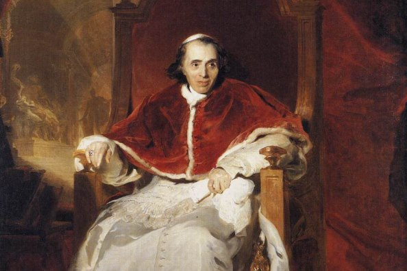 Sir Thomas Lawrence: Pope Pius VII (1819, 1,78 m × 2,69 m, Windsor) részlet