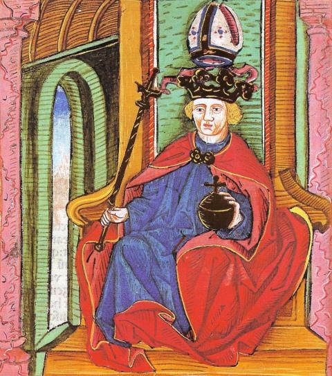 Könyves Kálmán (Thuróczy-krónika, 1488, forrás: Wikipédia)