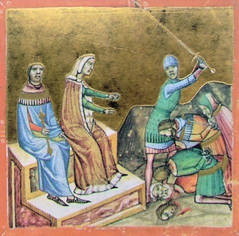 II. (Vak) Béla és Ilona királyné, aki elrendeli azok kivégzését, akik tanácsára Bélát megvakították(Képes Krónika, 1358, forrás: Wikipédia)