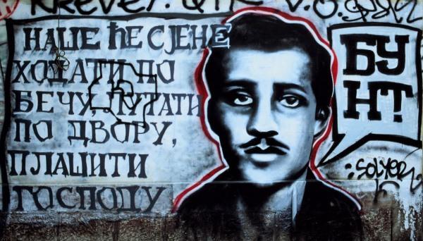Gavrilo Princip ábrázolása graffitin Belgrádban, a róla elnevezett utcában