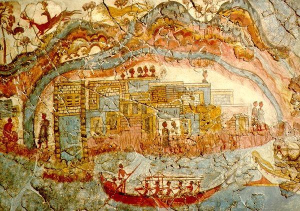 Feltárt akrotiri freskó