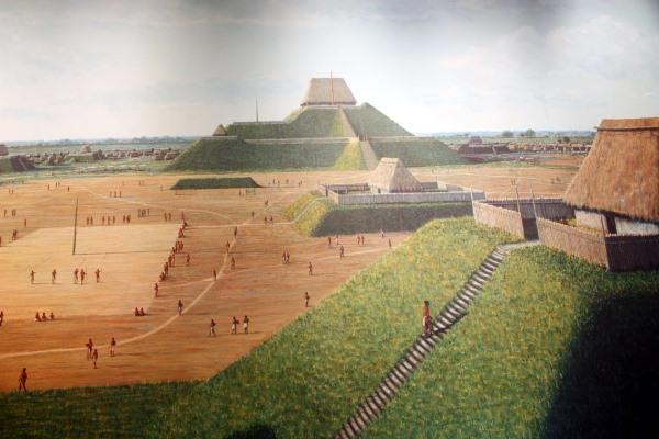 Cahokia elképzelt látványa (cahokiamounds.org)