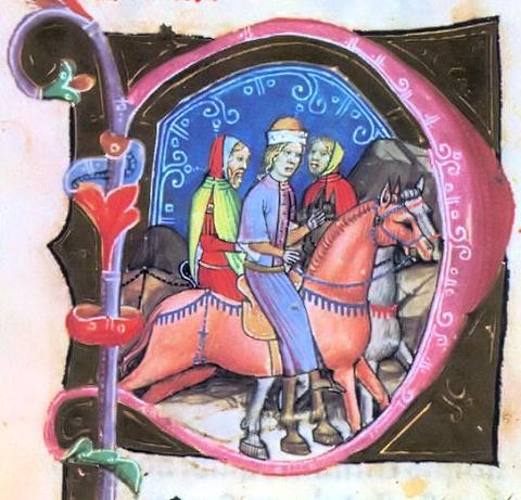 András herceget Magyarországra hozzák (Képes Krónika, 1358, forrás: Wikipédia)